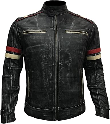 III-Fashions Mens Brown Vintage Cafe Racer Distressed Motorbike Rider Leather Jacket