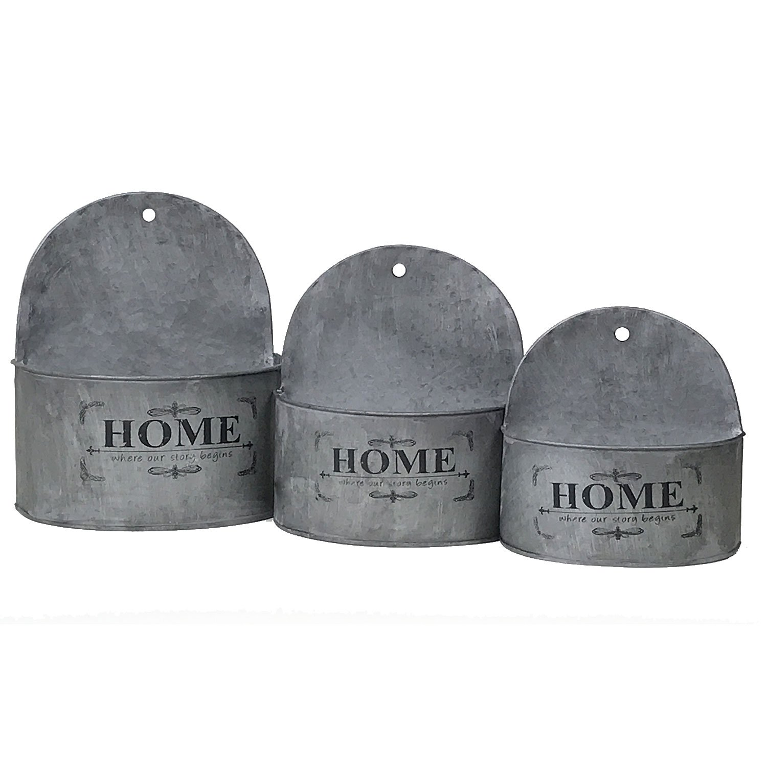 Rustic Tin Half-Round Wall Planter with Vintage Home Design, Farmhouse Style, Nesting Set of 3 by Arbor Lane