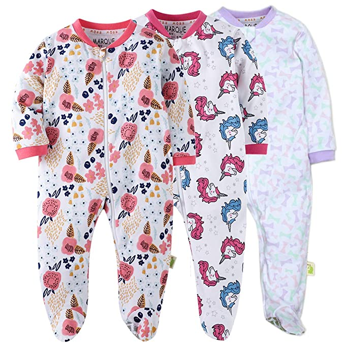 Baby Girls Footed Pajamas Cotton Zip Front Sleep and Play Long Sleeve Sleeper