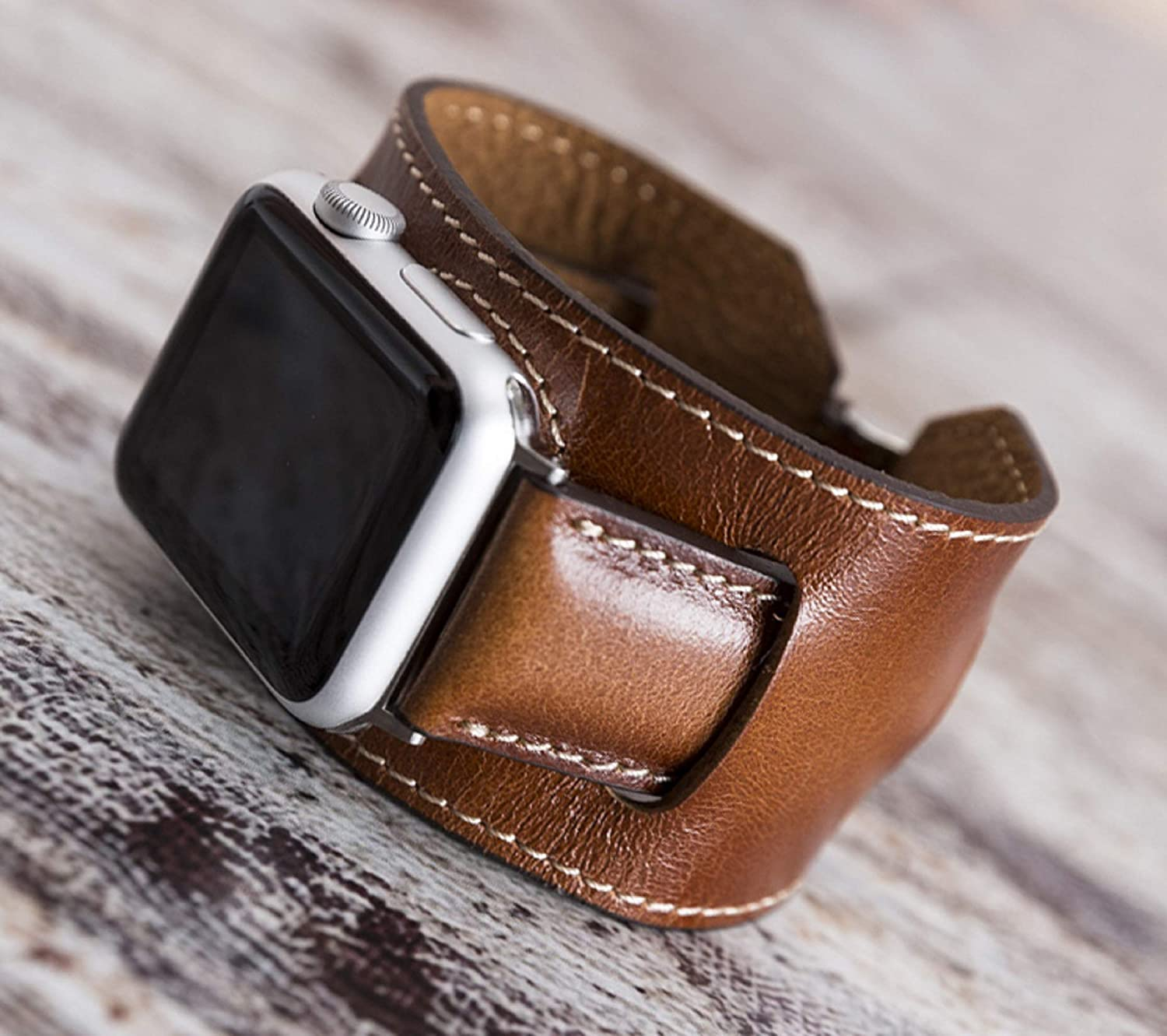 Brown Apple Watch Cuff Leather Band for Series 6-5-4-3-2-1 44mm, 40mm, iWatch Strap, Man or Women, High Quality, Engraving Avaliable, HANDMADE