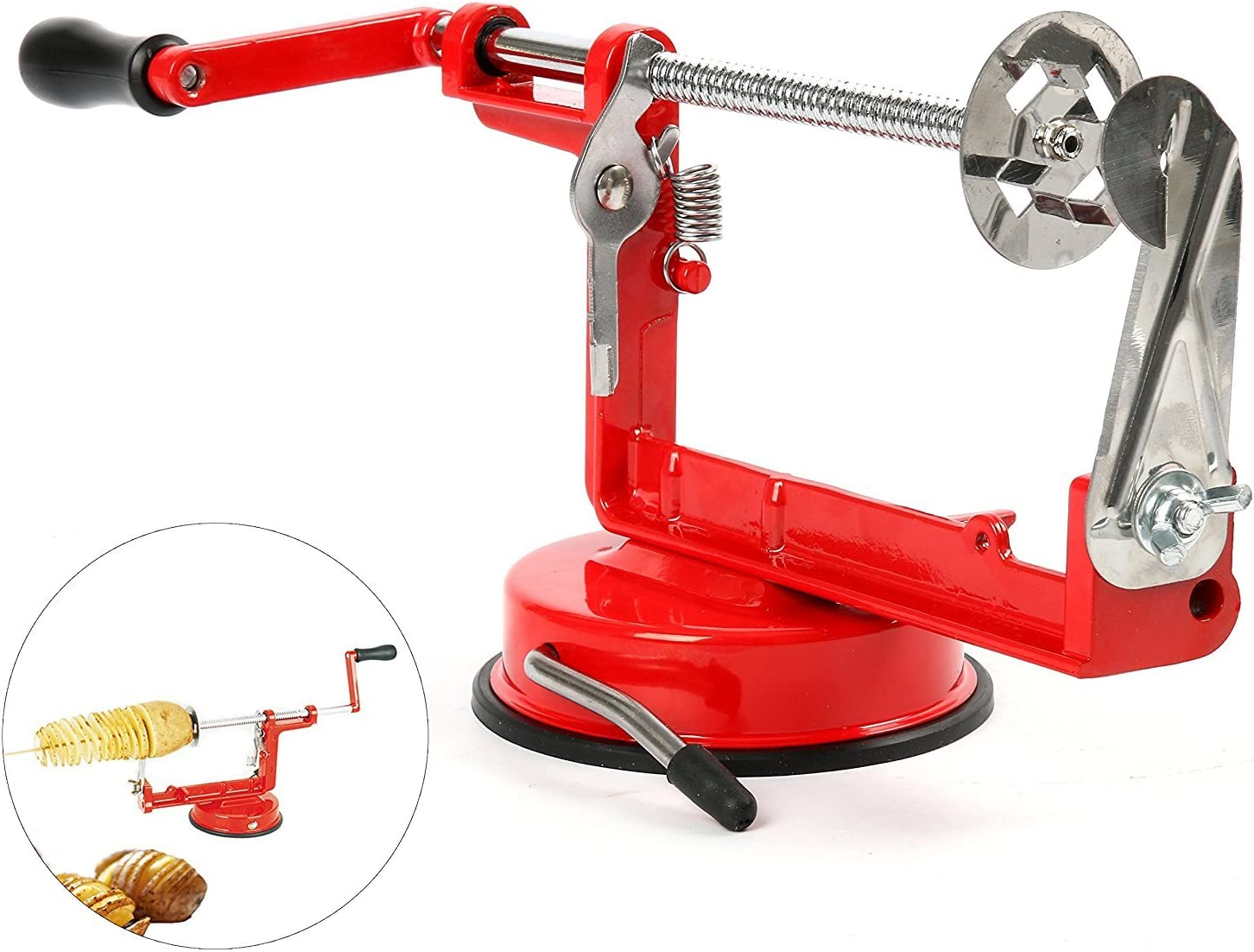 YaeKoo Red Stainless Steel Twisted Potato Slicer Spiral French Fry Cutter