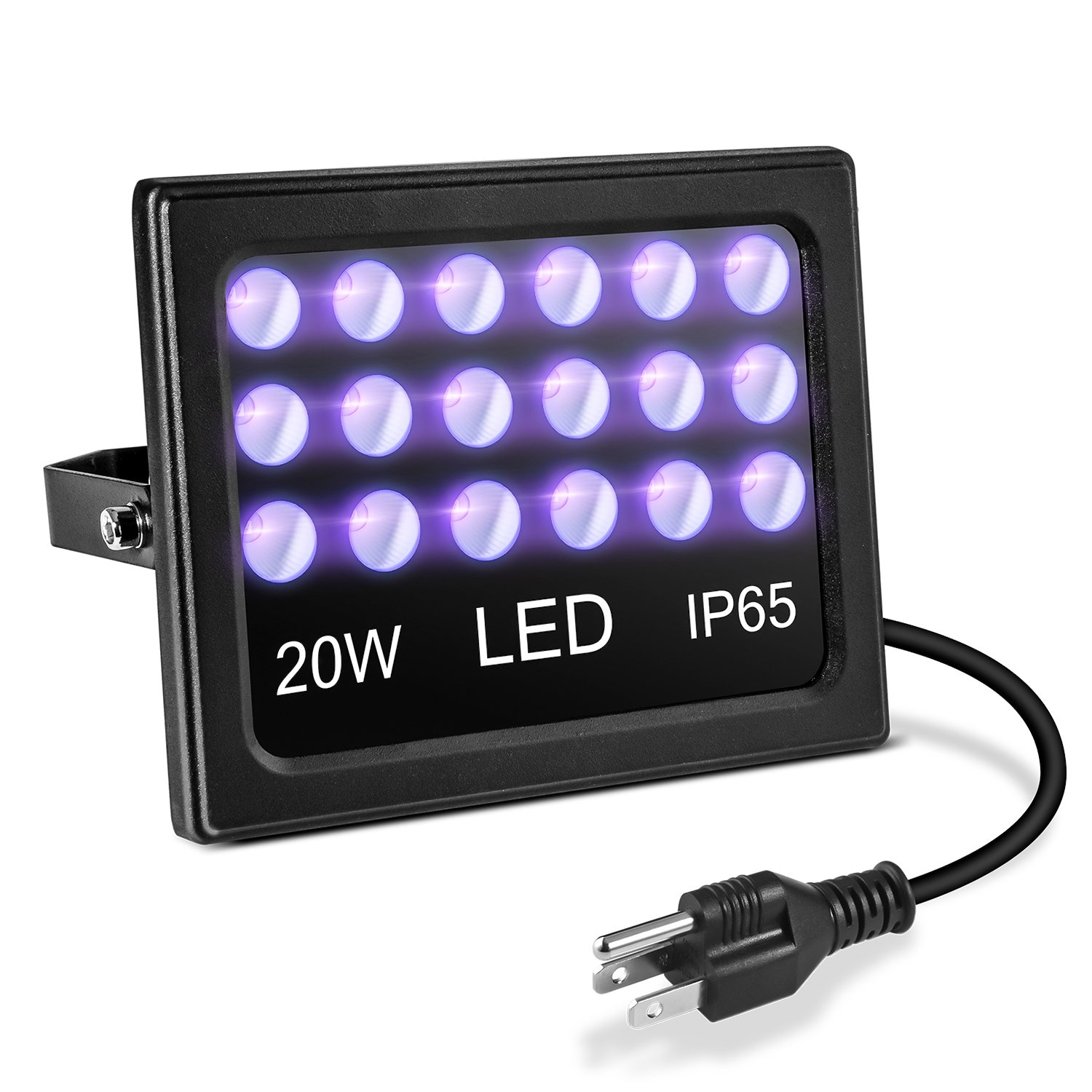 Afanty 20W LED Blacklight, with US Plug, 395nm Ultraviolet LED Black Light, IP65 Waterproof UV Light, UV Spotlight for Party, Fluorescent Paint.