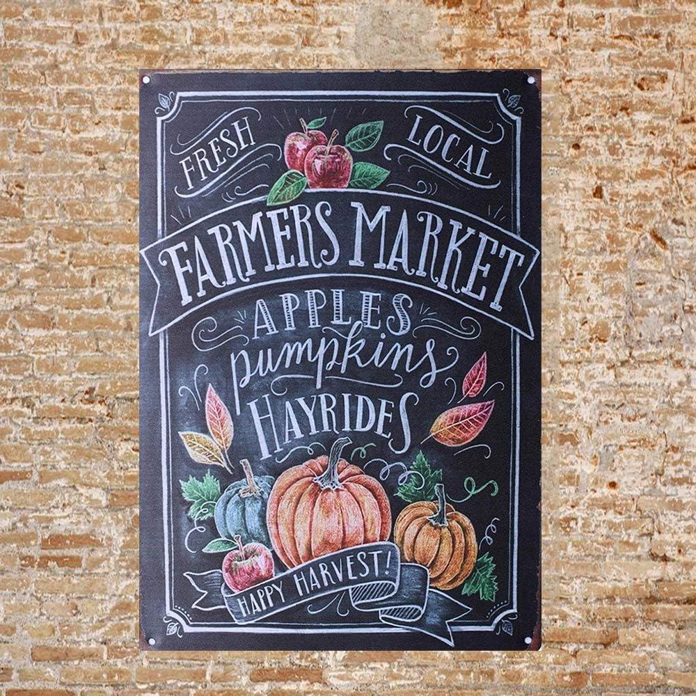 Kexle Vintage Retro Tin Metal Sign Decor 8x12 Farmers Market Apples Pumpkin Hayrides Wall Home Bar Decor