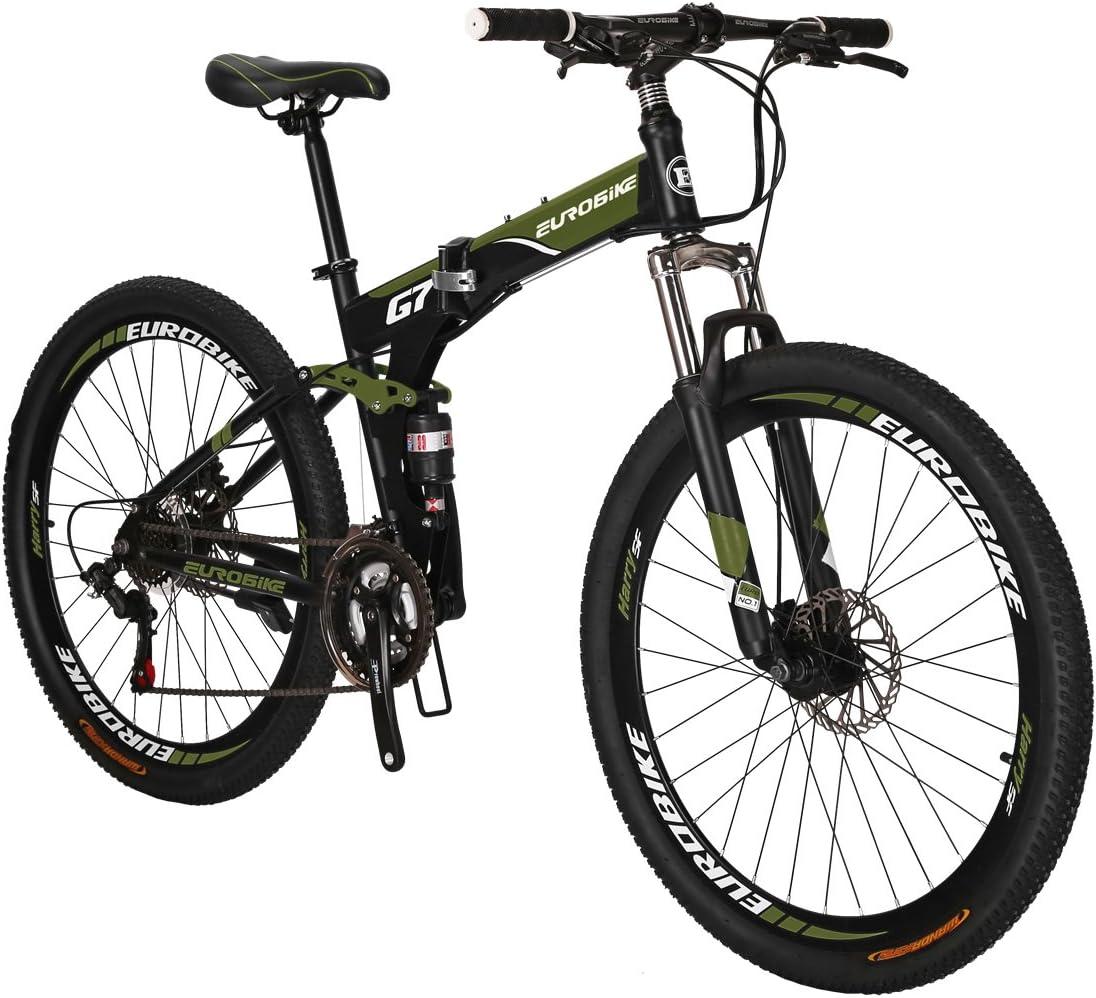 Eurobike Mountain Bike G7 21 Speed 27.5 Inches Wheel Dual Suspension Folding Bike Dual Disc Brake MTB Bicycle