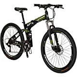 Eurobike G7 Mountain Bike 21 Speed Steel Frame 27.5 Inches Wheels Dual Suspension Folding Bike Armygreen
