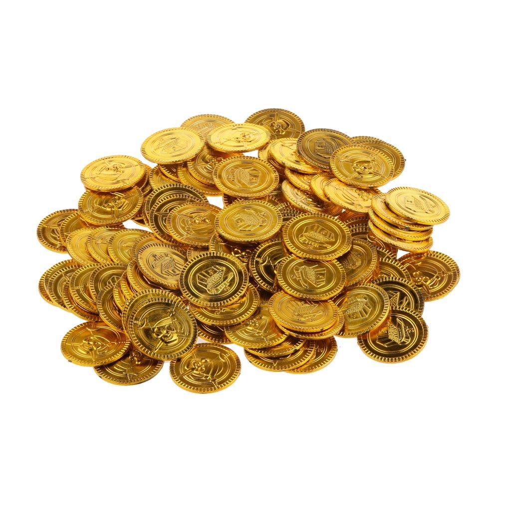 Silber Piraten Münzen Spielzeug Münzen Piratenschatz als 200er-Set Gold
