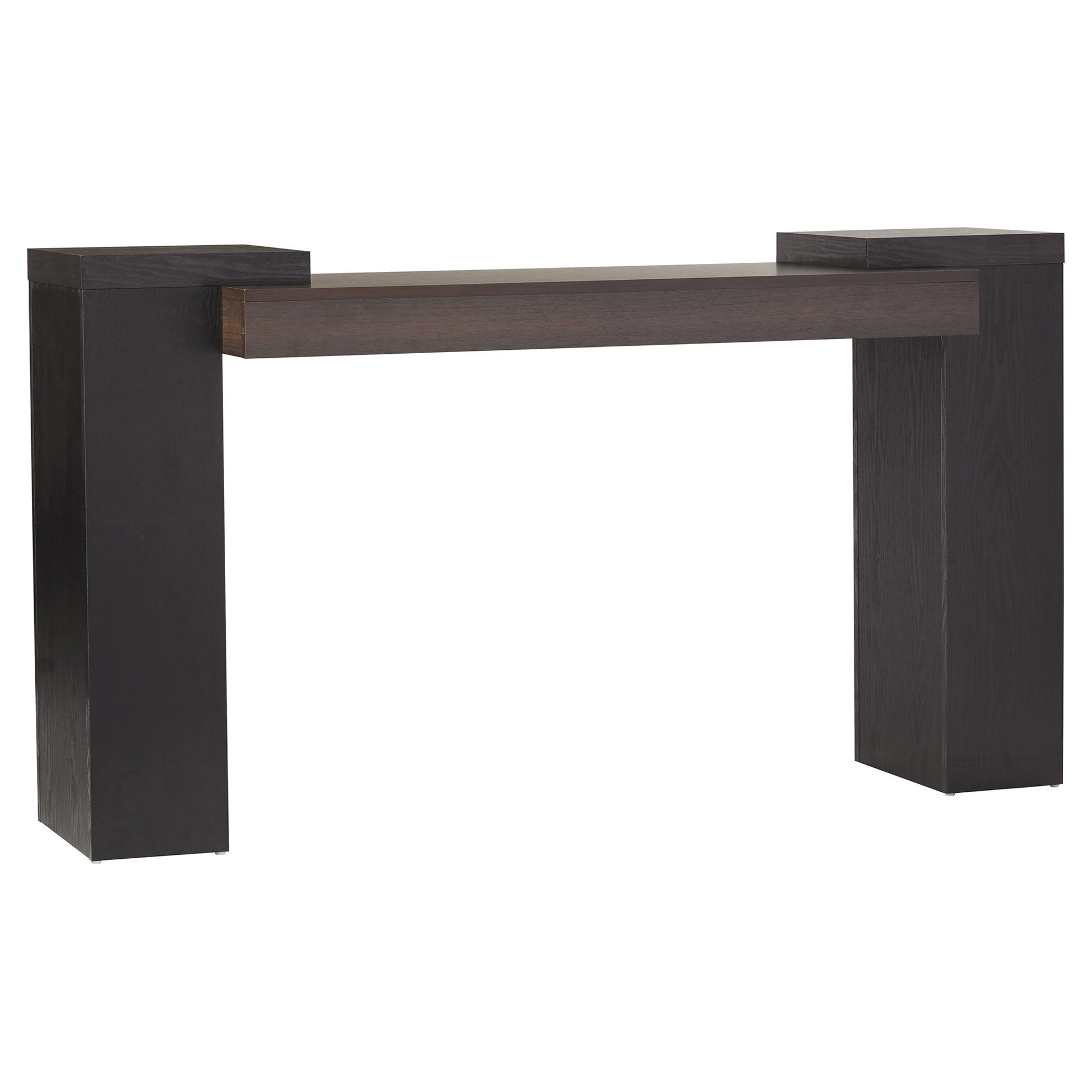 Classic Narrow Wooden Veneer Console Table in Black/ Cappuccino