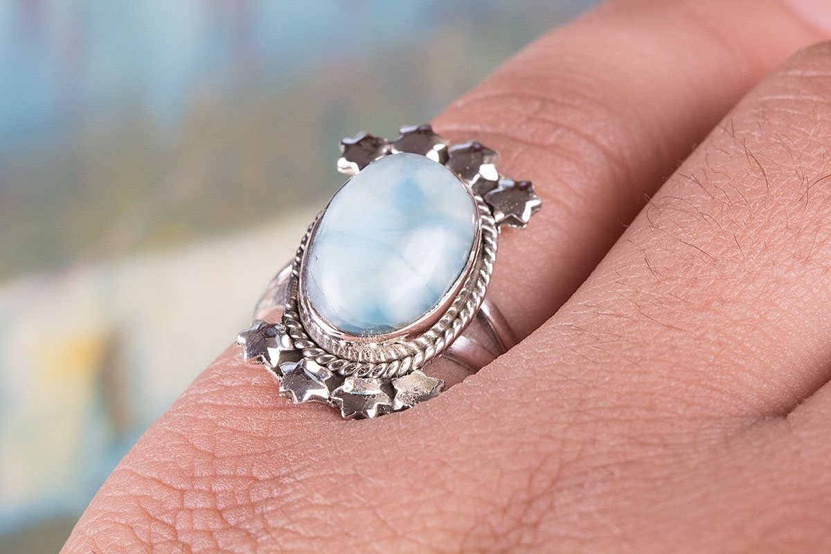 Amazon.com: Larimar Ring, 925 Sterling Silver, Statement Ring, Boho ...