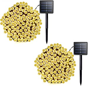 [2 Pack] Each Solar Powered 72Ft & 200LEDs Garden String Lights Outdoor Fairy Lights, Dark Green Cable Waterproof IP65 with 8 Modes for Garden,Fence, Ramadan,Patio, Party Decorations[Warm White]