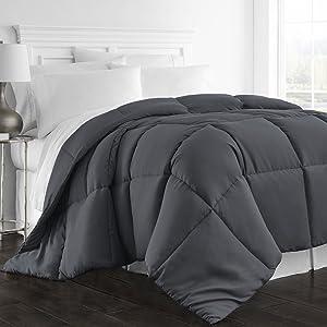 Beckham Hotel Collection 1300 Series - All Season - Luxury Goose Down Alternative Comforter - Hypoallergenic - Queen/Full - Gray