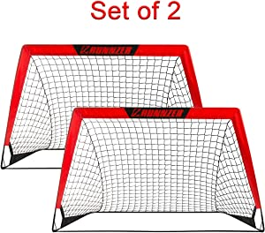 Portable Soccer Goal, Pop Up Soccer Goal Net for Backyard Training Goals for Soccer, Set of 2 with Carry Case, 3.3'/4.5'x 2.5'
