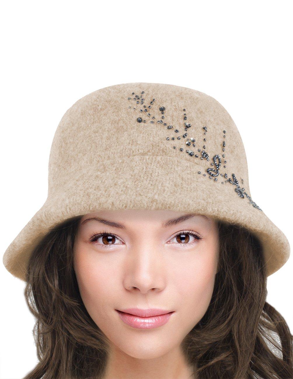 Dahlia Women's Wool Blend Hand Beaded Winter Bucket Hat/Cloche Hat - Tan by Dahlia (Image #3)