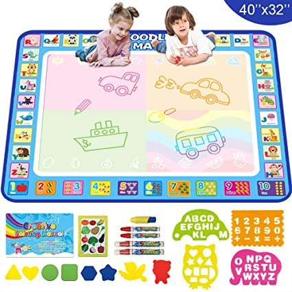 TONBUX Doodle Mat Aqua Magic Mat 40 x 30 Inches Water Drawing Doodling Mat Toys for Toddlers Learning Kids AquaDoodle Coloring Mat with Pen Markers for Age 2-5 Years Old Girls Boys Birthday Gifts