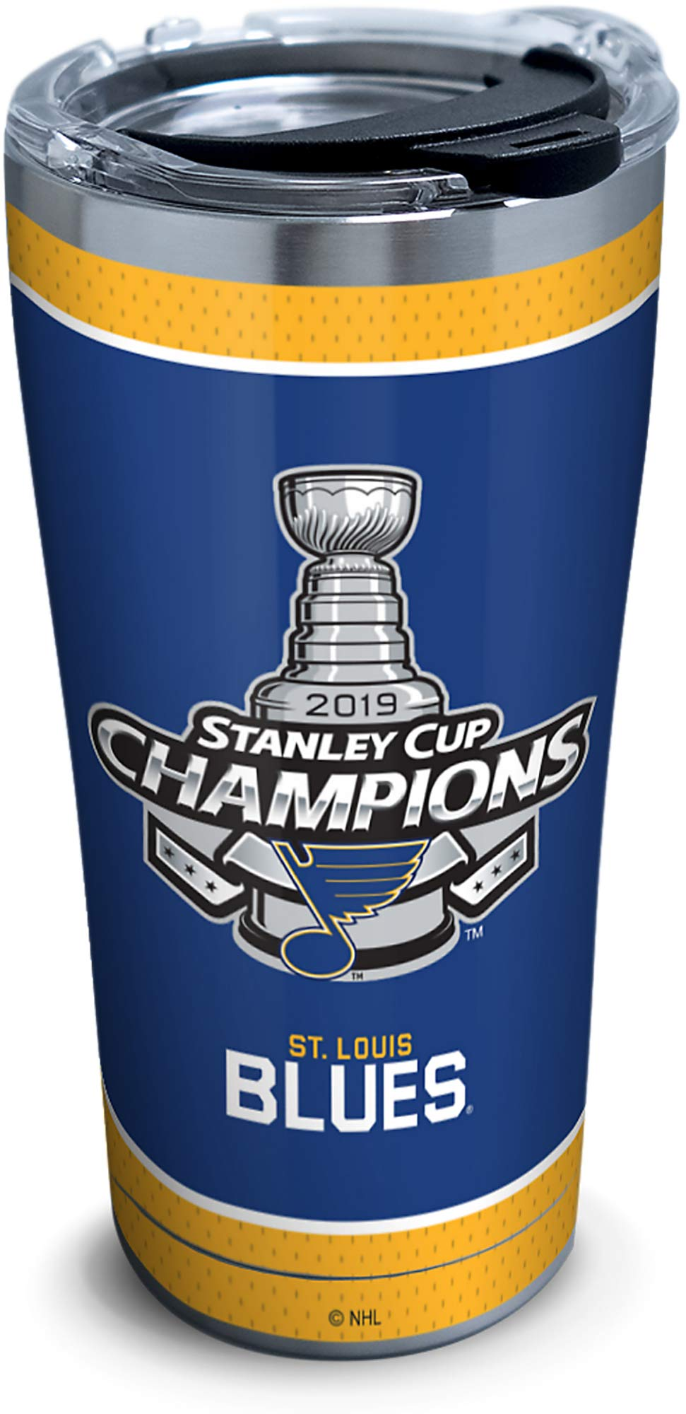 Tervis NHL St. Louis Blues 2019 Stanley Cup Champions Stainless Steel Insulated Tumbler with Clear & Black Hammer Lid, 20 oz, Silver - 1336027
