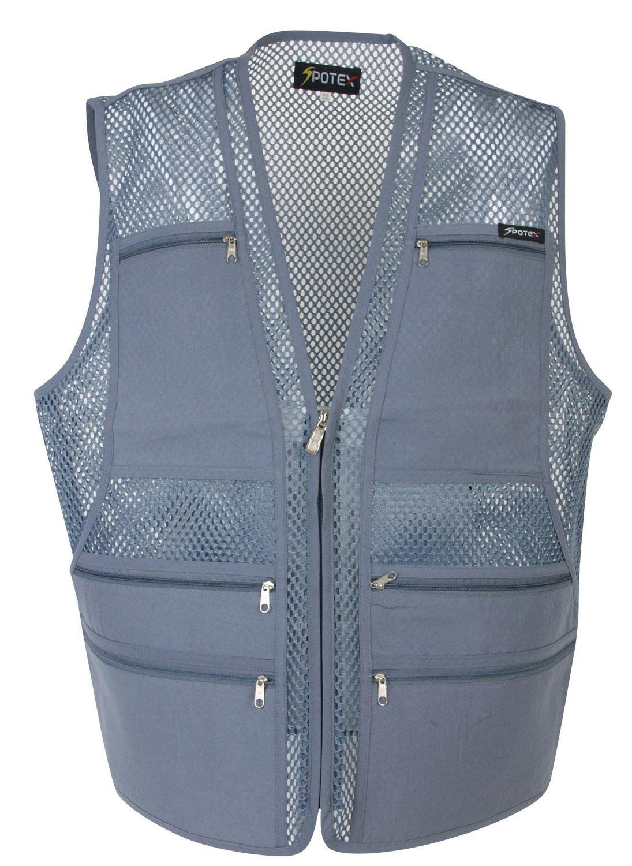 Men's 9 Pockets Work Utility Vest Military Photo Safari Travel Vest (L, Mesh Gray) by Beat The World