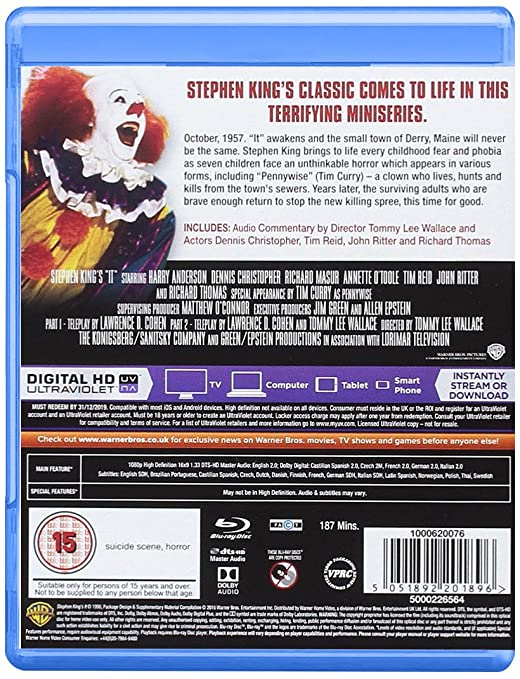 Stephen King's It [Blu-ray] [2016] [Region Free]: Amazon co uk