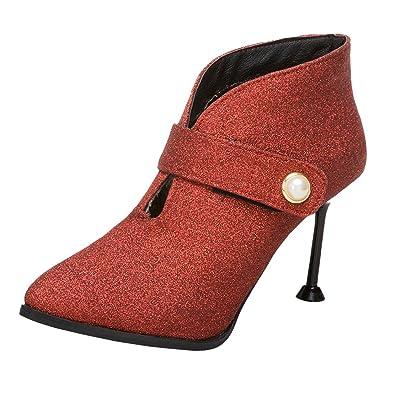 c06225794133d3 AIYOUMEI Stiletto Stiefeletten mit Glitzer Ankle Boots für Damen High Heels  Pumps Spitz Rot 33.5 EU