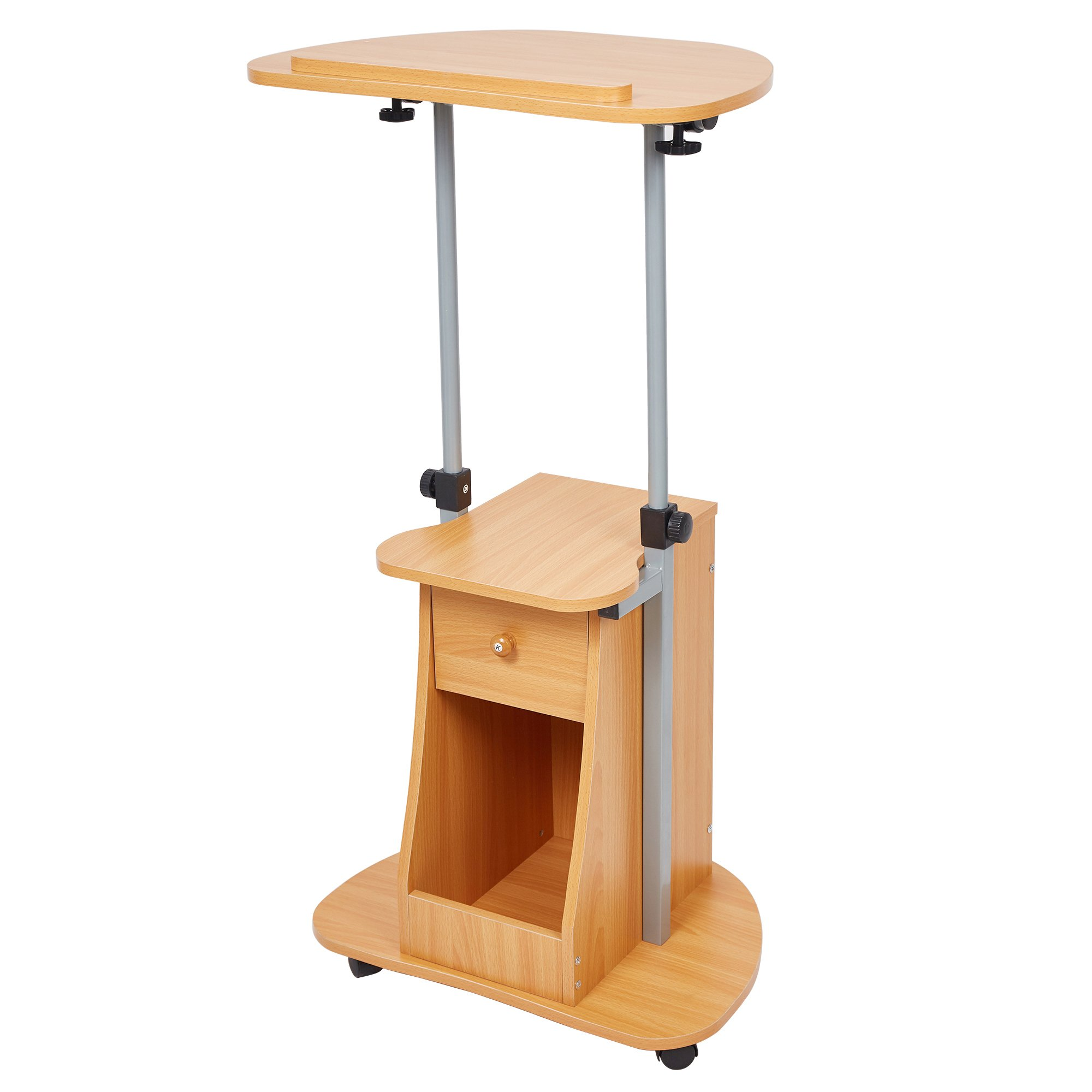 Lucky Tree Sit-to-Stand Laptop Desk with wheels Height Adjustable Laptop Stand with Storage Cart Mobile Notebook Workstation with Tilt Top for Lectern Podium
