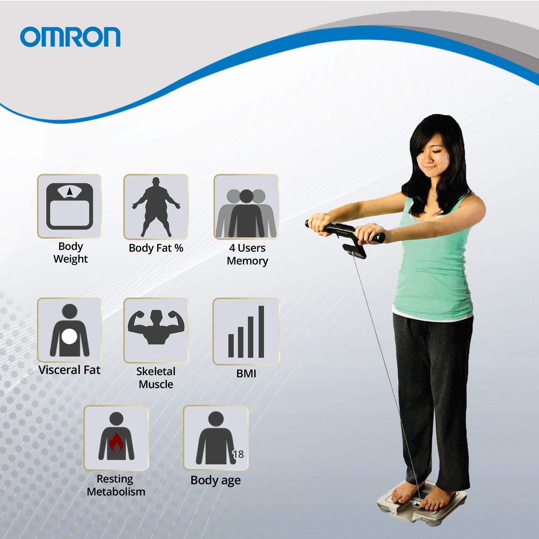 OMRON HBF-375 - Báscula de baño (Báscula personal electrónica, 135 kg, kg, Plaza, Gris, LCD): Amazon.es