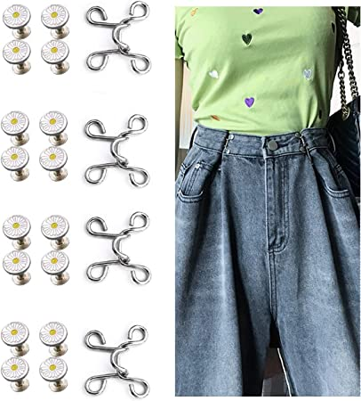 4 Set Adjustable Waist Buckle Extender 20 Pieces Screw-Free Jeans Extender with Metal Buttons Fasteners Tightens Your Pants Without A Belt (Daisy, 32mm)