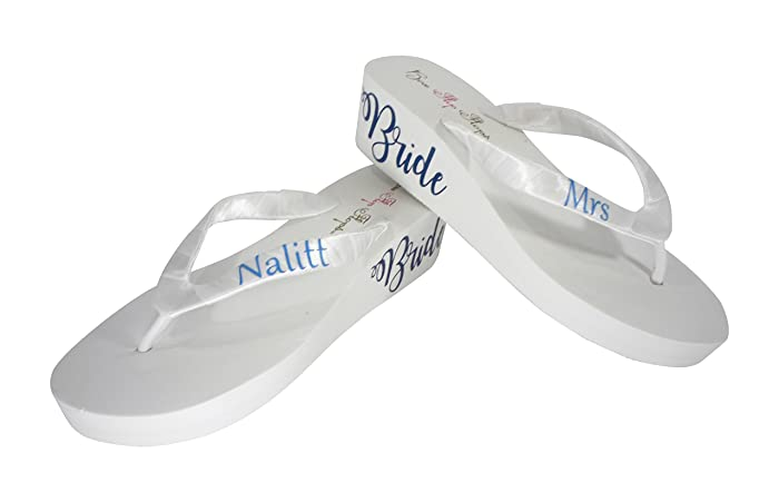 6347c7992 Image Unavailable. Image not available for. Color  Royal   Blue Bride and  Personalized Mrs Last Name Wedding Wedge Flip Flops ...