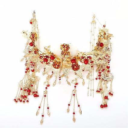 MultiKing tocado de novia Tocado de novia vestidos antiguos paso simple estilo Chino Fengguan Xia Fei