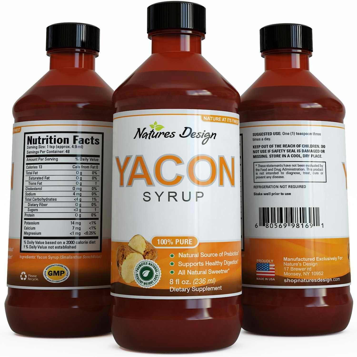 Pure Yacon Syrup for Women & Men - Natural Sweetener ★ Highest Grade & Quality ★ Ultra Strength, Potency & 100% Natural, Safe Weight Loss - Guaranteed By Natures Design by Natures Design (Image #1)