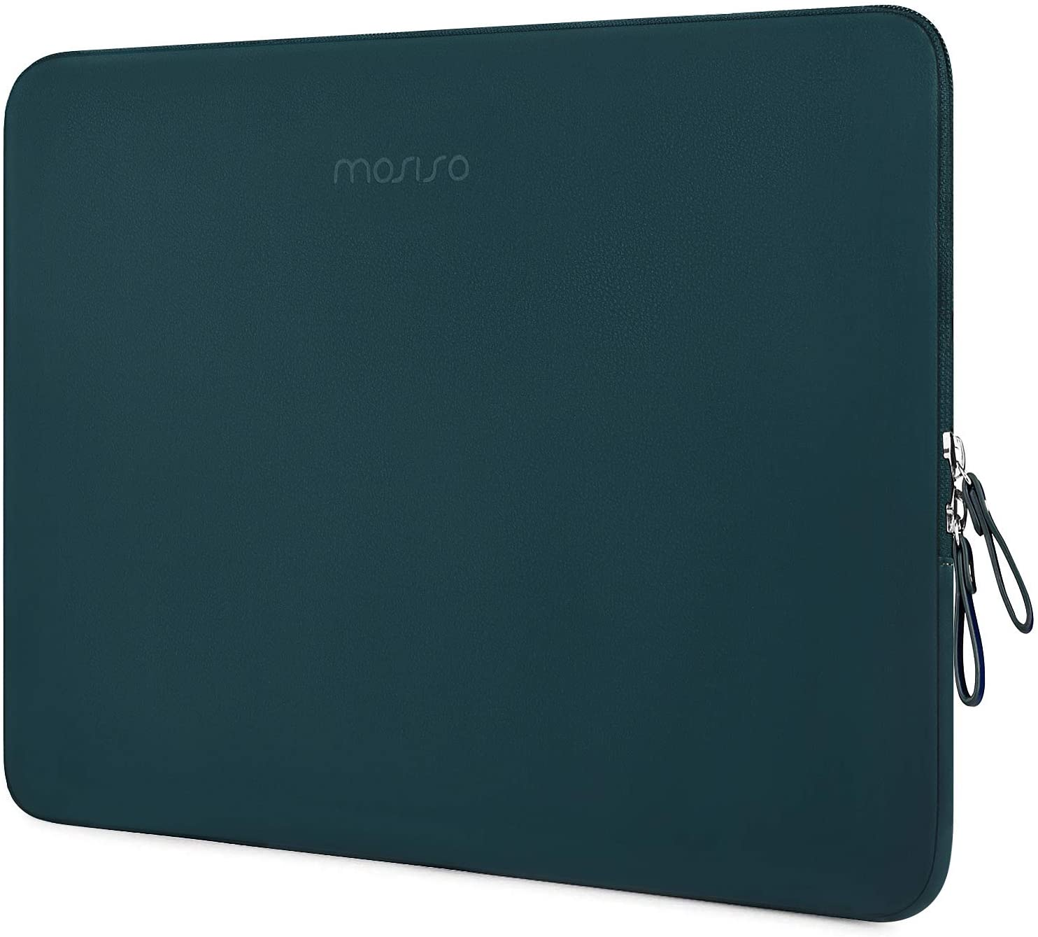 MOSISO Laptop Sleeve Compatible with 13-13.3 Inch MacBook Air/MacBook Pro Retina/2019 2018 Surface Laptop 3/2/Surface Book 2, PU Leather Super Padded Bag Waterproof Protective Case, Deep Teal