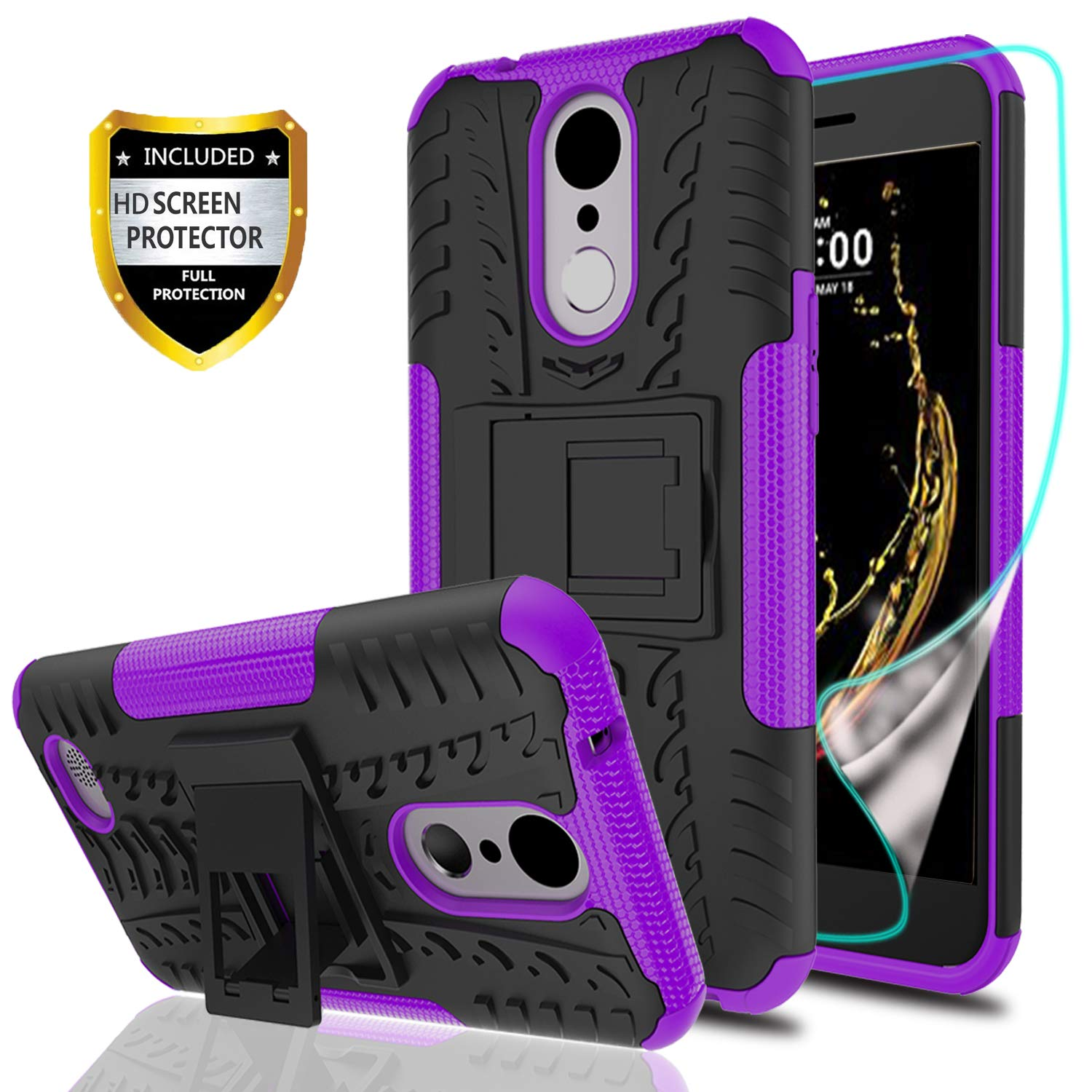 YmhxcY LG K20 V Phone Case,LG K20 Plus/LG K10 2017/LG Harmony/LG Grace Case with HD Screen Protector,Military Armor Drop Tested [Heavy Duty] Hybrid Case with Kickstand for LG LV5-LT Purple