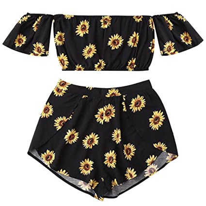1e834c8663d8 Joint Women Boho Off Shoulder Sunflower Rompers 2018 Summer Halterneck Crop  Top Cami Vest + Shorts
