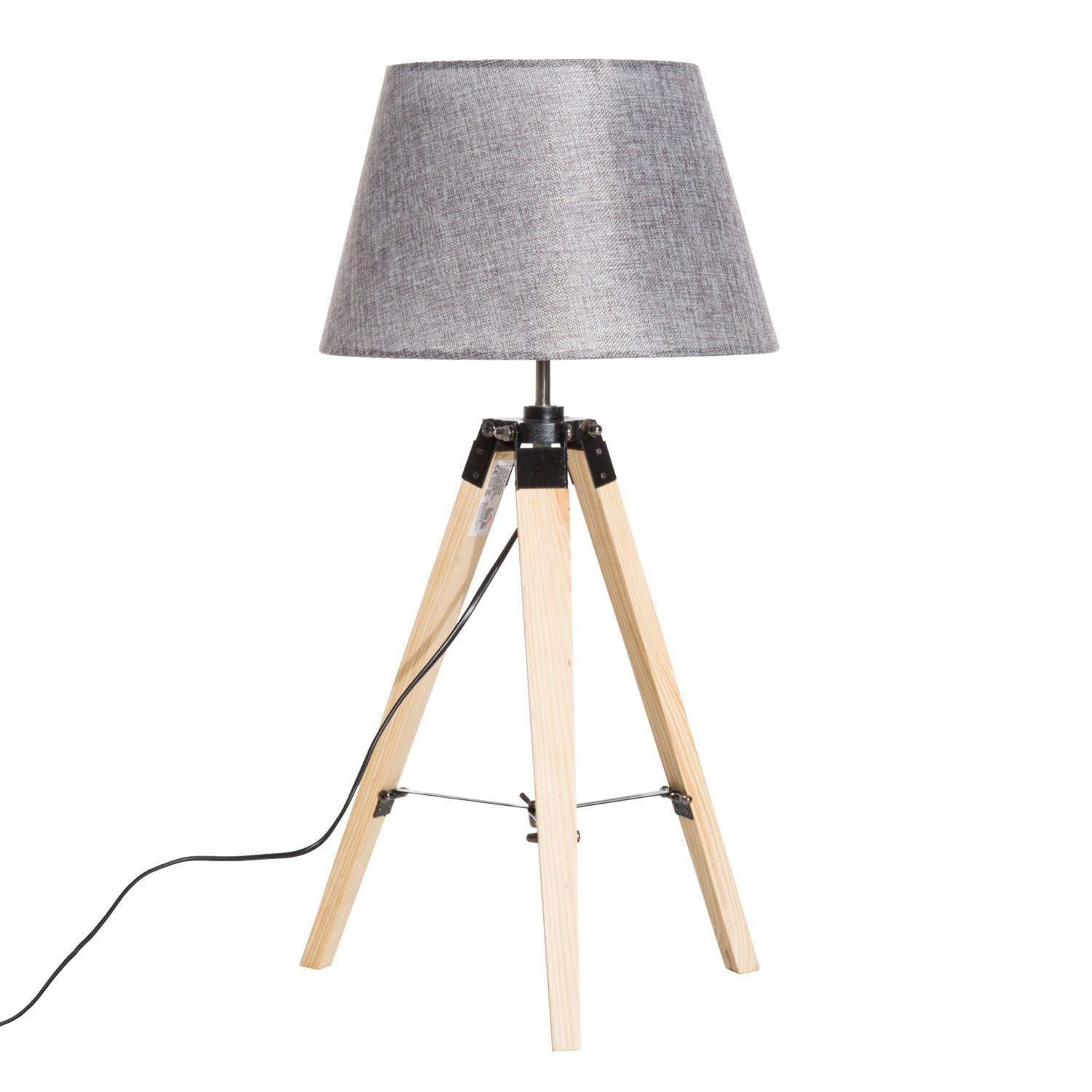 "Hom Com 27"" Linen Fabric Table Lamp With Wooden Tripod Stand   Grey by Homcom"