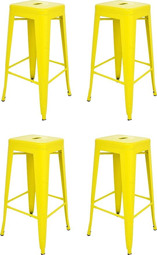 La Silla Española - Pack 4 Taburetes estilo Tolix. Color Amarillo. 76x43x43: Amazon.es: Hogar