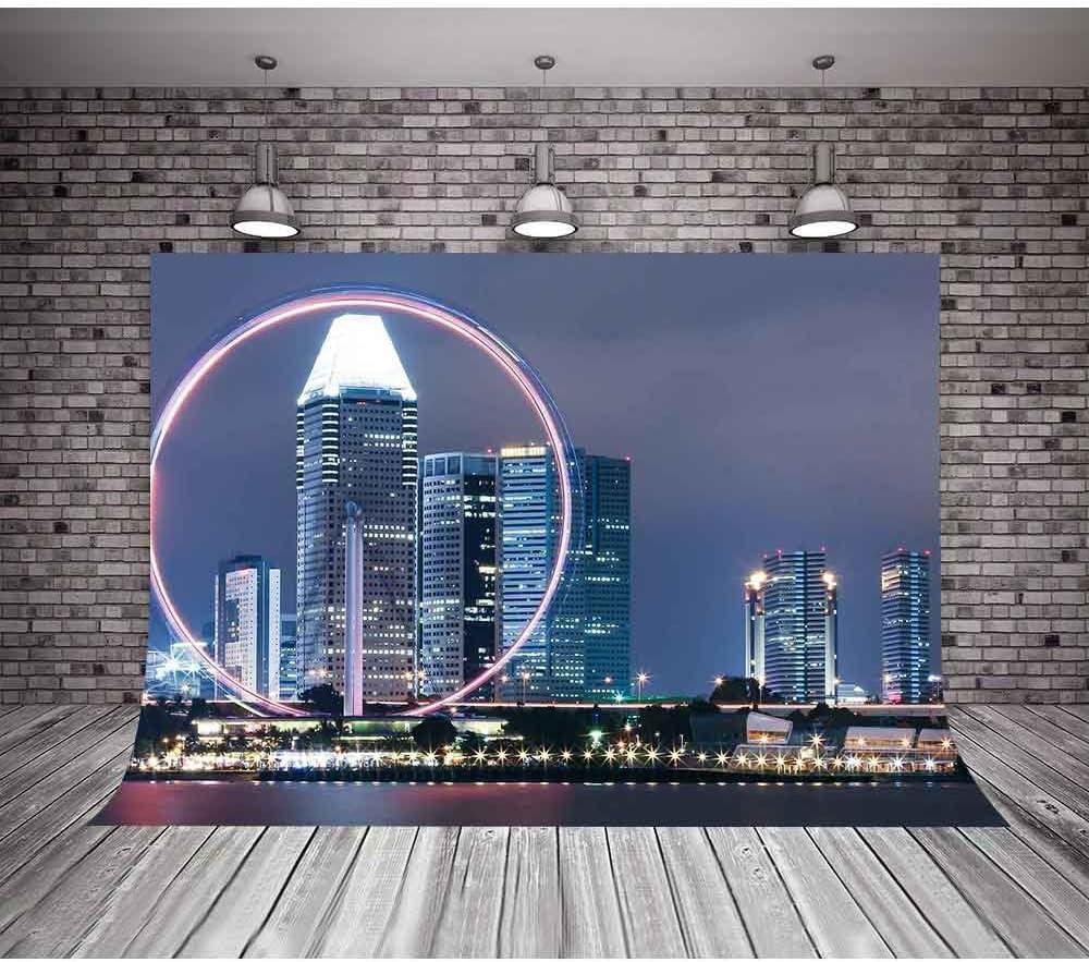 MME Photography Backdrop 7X5ft Modern City Architecture Background Neon Ferris Wheel Vinyl Photo Studio Props GYMM199