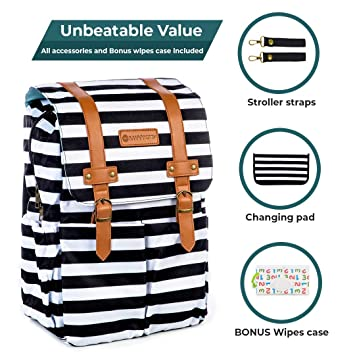 Amazon.com   SavvyMami Striped Diaper Bag Backpack for Mom - Bags for Stylish  Moms - Large Black and White Striped Backpack Diaper Bag with Changing Pad  and ... 986fb227b6a83