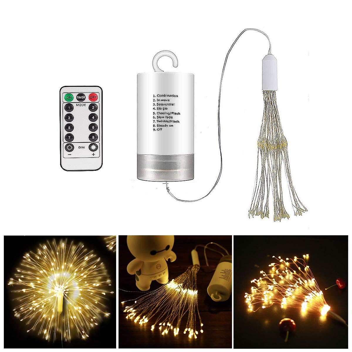 8 Modes Dimmable Fairy Lights with Remote Control Battery Operated Hanging Starburst Lights with 120 LED Waterproof for Parties Home Outdoor Decoration Firework Lights LED String Lights 2 Pack