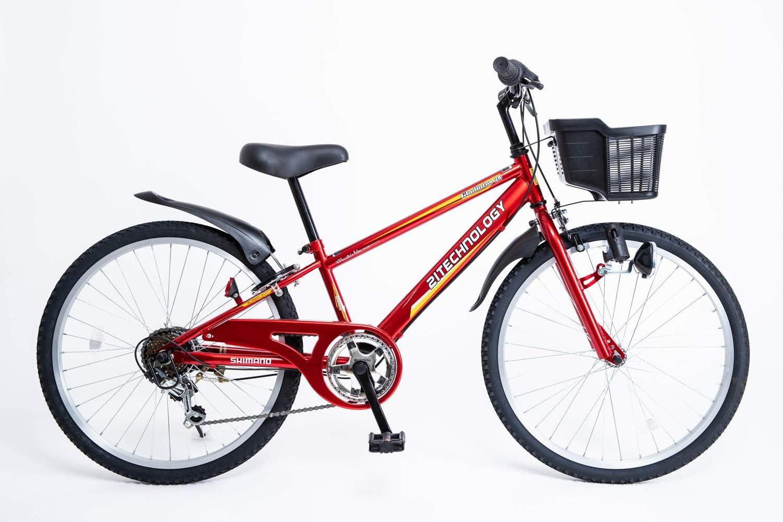 21Technology 【21テクノロジー】 子ども自転車 キッズマウンテン 24インチ シマノ6段変速 ダイナモライト付き 後輪サークル錠 チェーンケース付き 適用身長目安125cmより KD246〕 赤