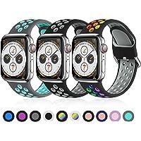 Ouwegaga Zestaw 3 zapasowych pasków do zegarka Apple Watch 44 mm, 42 mm, 38 mm, 40 mm, miękki silikonowy pasek do…