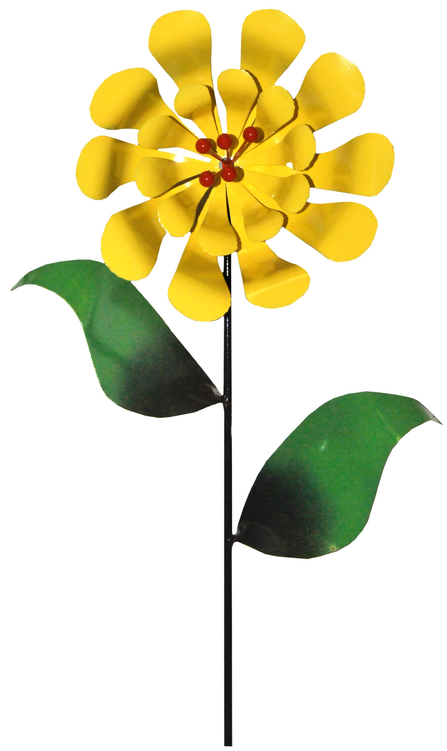 Steven Cooper Metalsmith AFLWR-07-L Artificial Garden Flower on Footed Stake, 5-Feet, Yellow