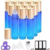 Essential Oil Roller Bottles 10ml (Gradient Blue Glass, 12pack, 3 Extra Stainless steel Roller Balls,24 Labels, Opener, 2 Funnels by PrettyCare) Roller Balls For Essential Oils, Roll on Bottles