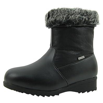 Women's Winter Ice Snow Boots Waterproof With Ice Gripper Wide Toe Box 3M Thinsulate Full Lined Memory Foam Alaska
