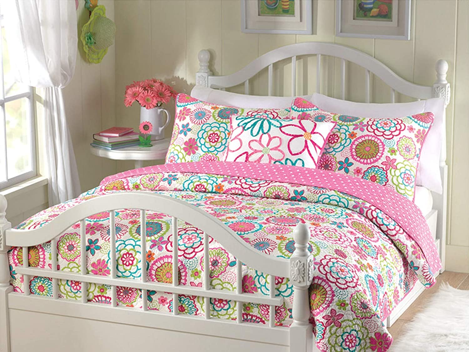Cozy Line Home Fashions 3-Piece Quilt Set, Mariah Pink Polka Dot Flower Lightweight Reversible Coverlet Bedspread, Bedding for Little Girls, Kids(Colorful Floral, Full/Queen - 3pc: 1 Quilt + 2 Shams) BB-K-10595