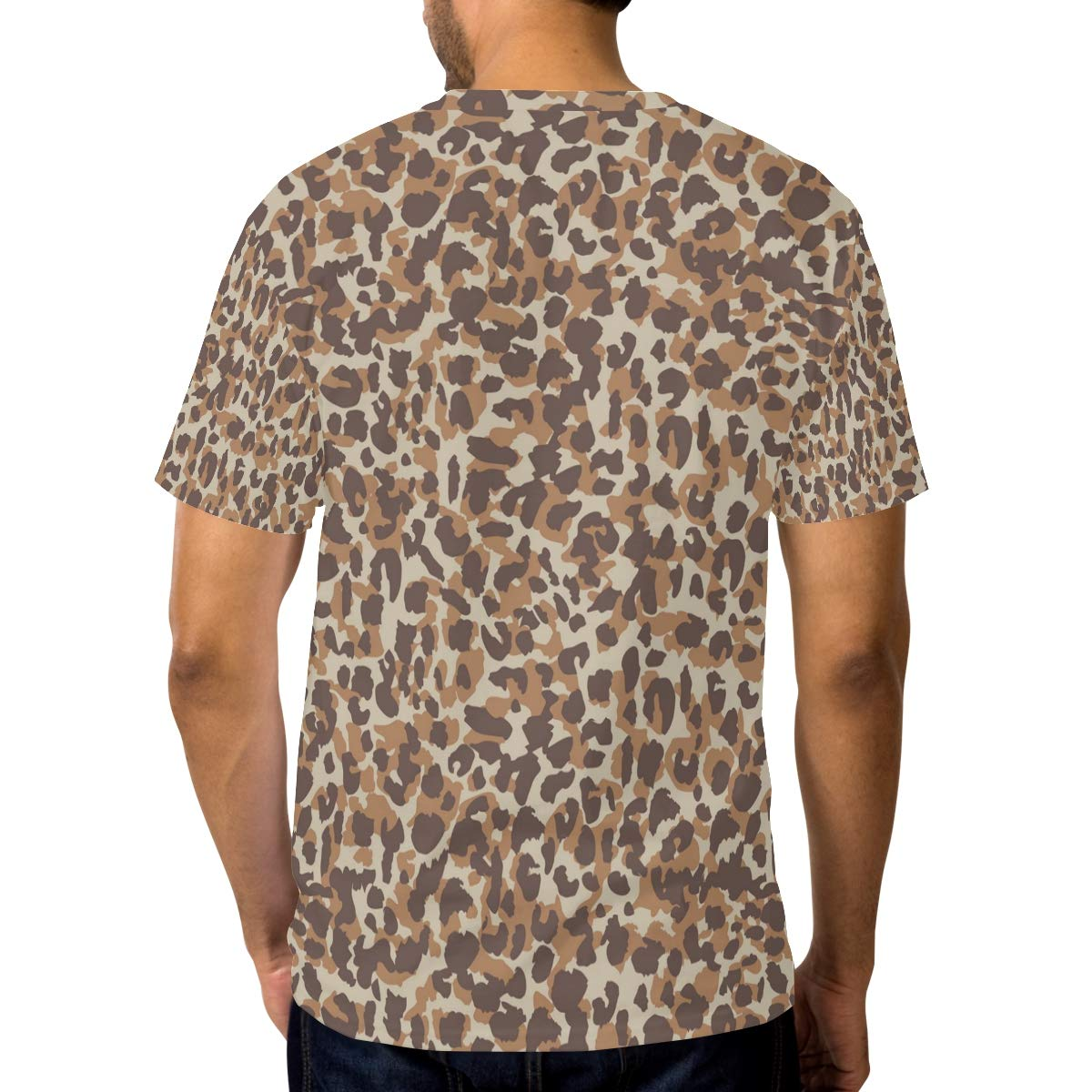 Horatiood Huberyyd Brown Leopard Print Fabric Mens T Shirts Graphic Funny Body Print Short T-Shirt Unisex Pullover Blouse