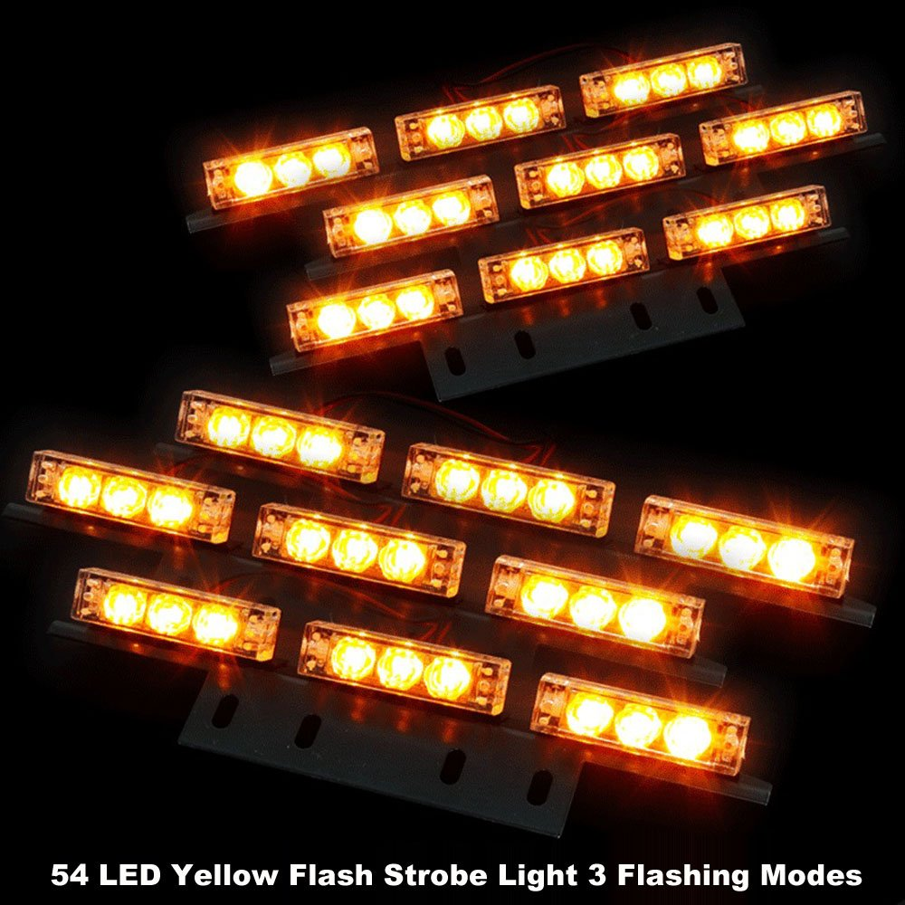 Koolertron 54 LED Emergency Vehicle Strobe Lights/Lightbars Deck Dash Grille