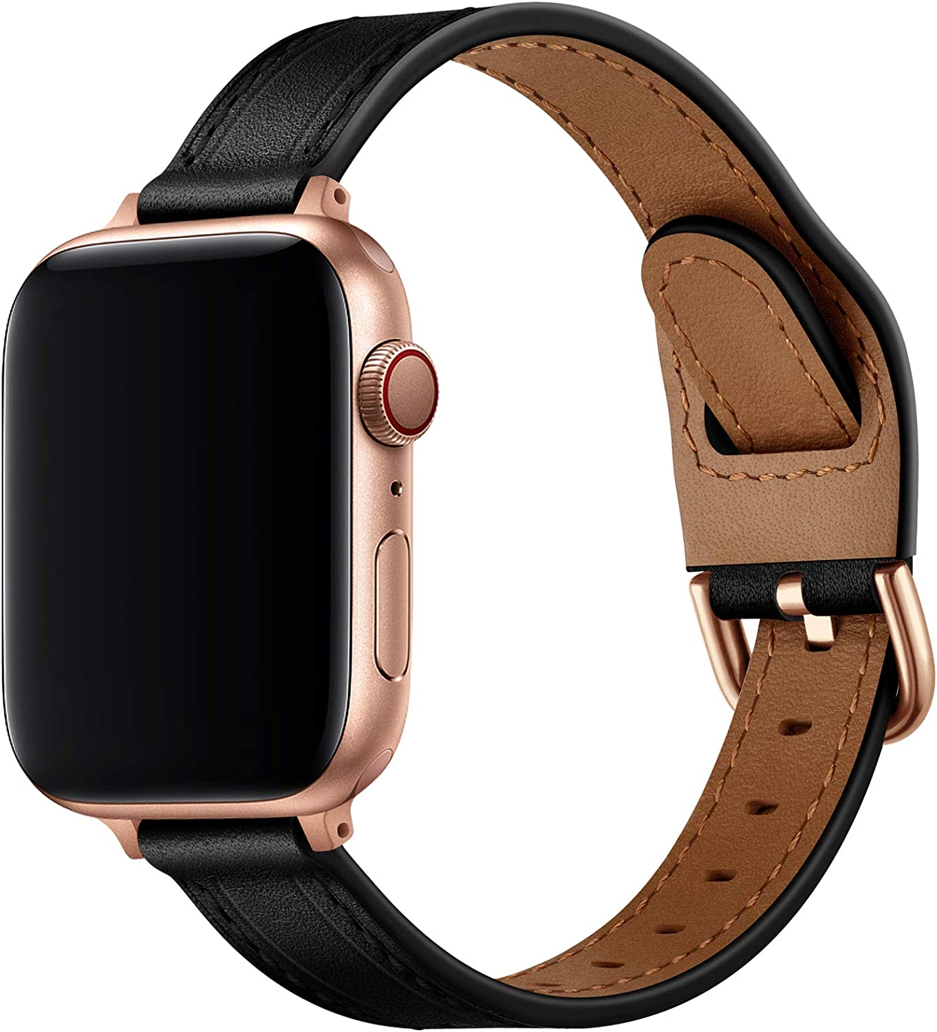 OUHENG Slim Band Compatible with Apple Watch Bands 40mm 38mm 44mm 42mm, Women Thin Genuine Leather Replacement Strap Compatible with iWatch SE Series 6/5/4/3/2/1 (Black/Rose Gold, 40mm 38mm)