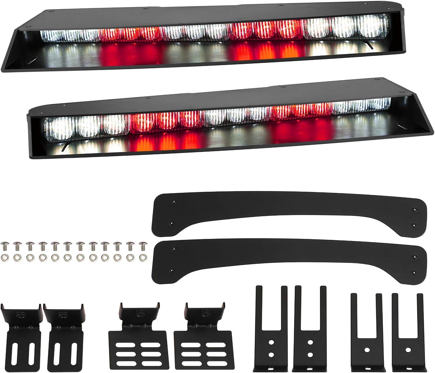 ASPL Visor lights bar 2-15 LED 29 Flash Patterns Interior Upper Windshield Split Mount Emergency Hazard Warning Strobe Light Bar Take Down Light Kit Red//White