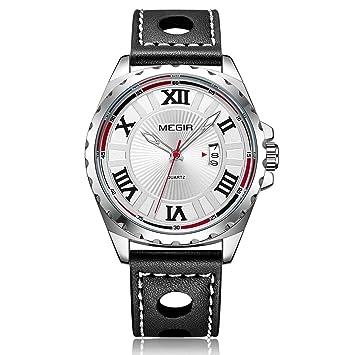 Megir Creativo De Moda Reloj De Cuarzo Deportivo Hombres Negro Reloj De Pulsera PU Reloj De