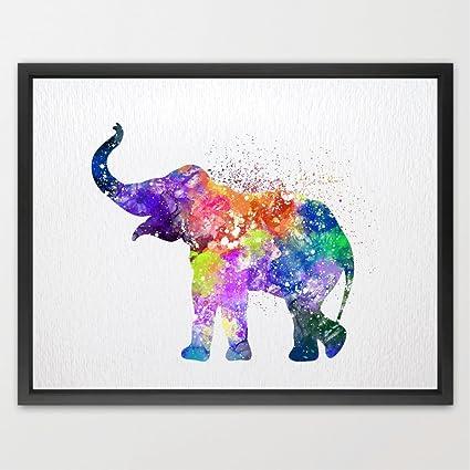 dignovel Studios Bebé elefante acuarela impresión Pinky ...
