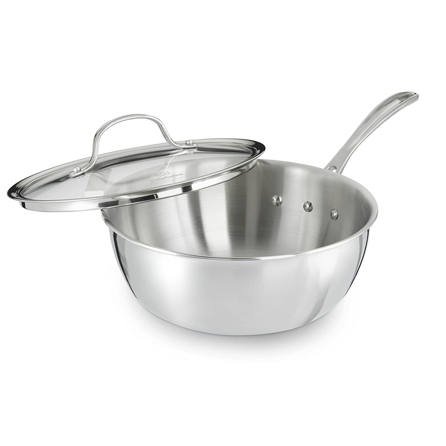 Calphalon Tri-Ply Stainless Steel Cookware, Chef's Pan, 3-quart