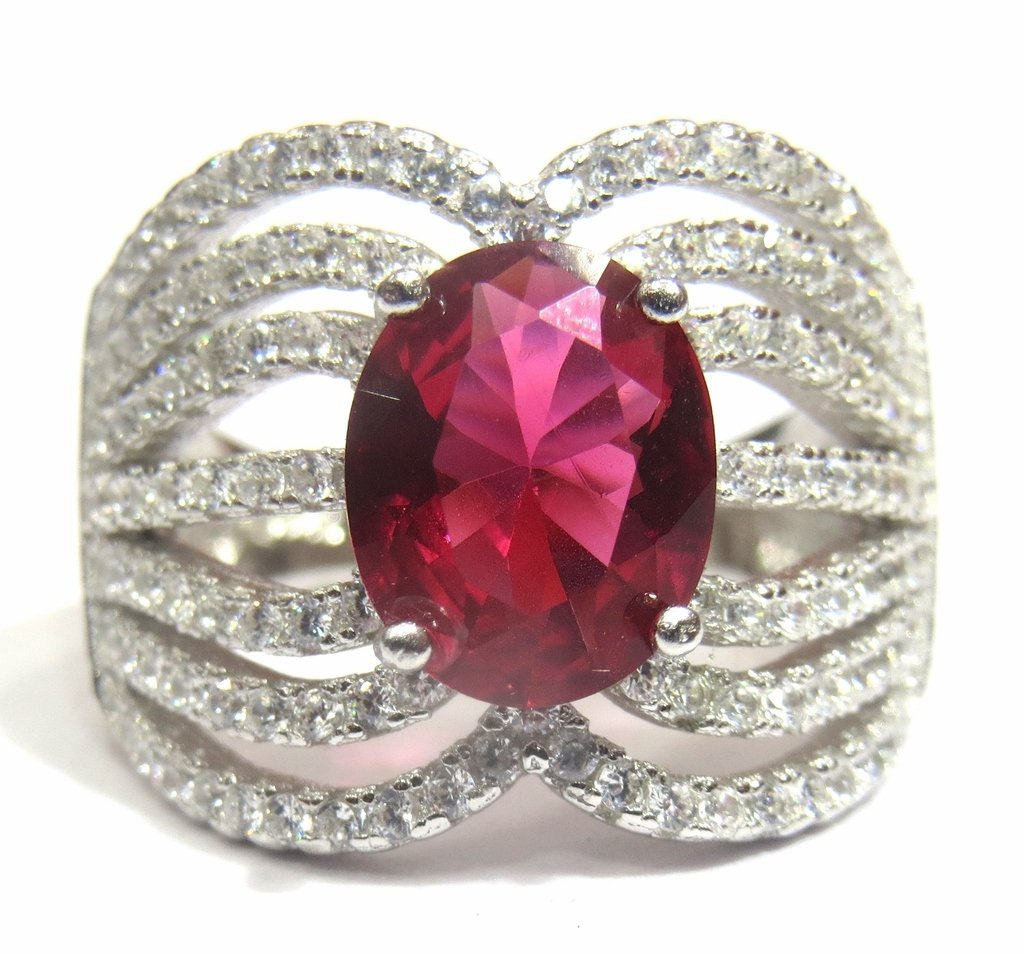 Jewelshingar Jewellery Fine Silver Plated Ring For Girls ( 31035-ring-ruby-ssr )