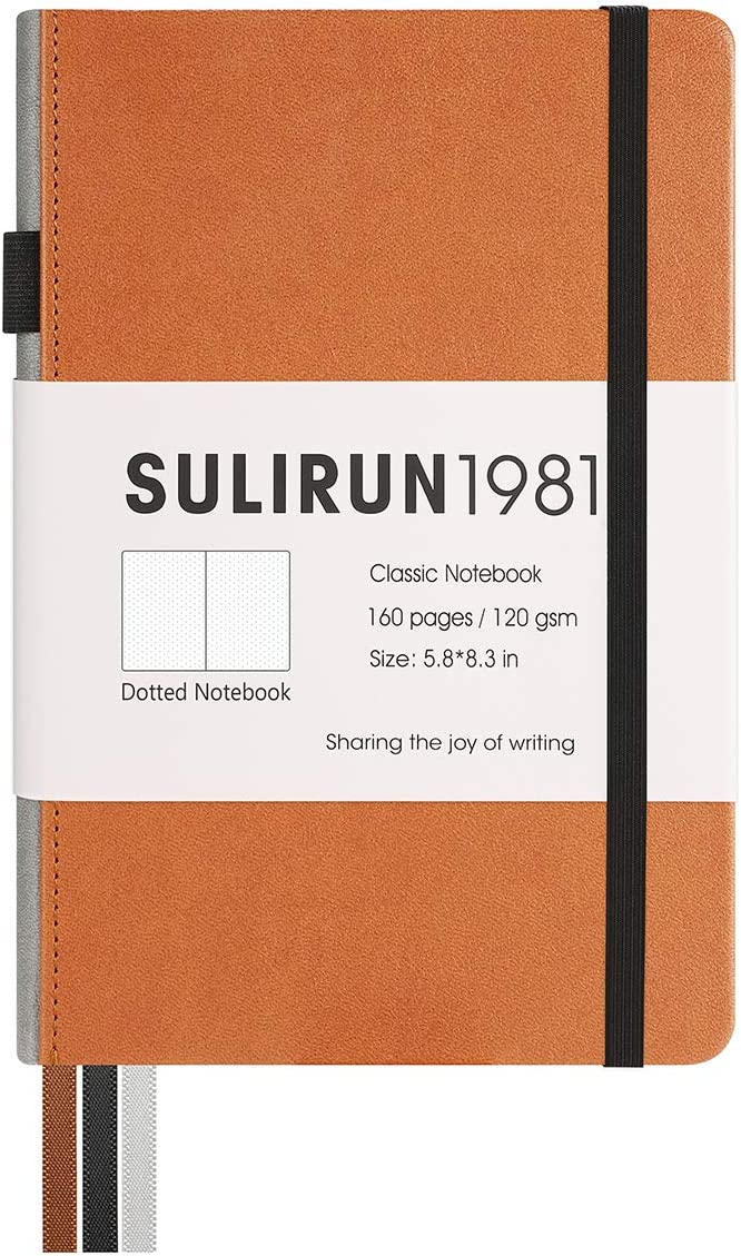 Dotted Bullet Grid Journal Notebook,Classic A5 PU Faux Leather Cover, Thick Paper With Inner Pocket,Suitable For School Office Supplies,5.8 X 8.3 Inches,160 Pages (Chocolate, Dotted)